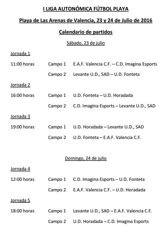 Calendario Liga Autonómica Fútbol Playa